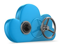 Cloud with lock on white background stock illustration