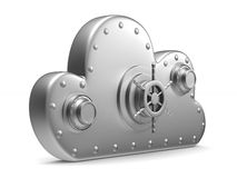 Cloud with lock on white background.  3D Royalty Free Stock Photos