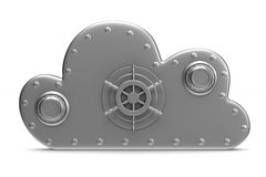 Cloud with lock on white background. Isolated 3D Stock Images