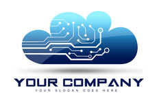 Cloud Logo. Design concept with microchips inside Royalty Free Stock Photos