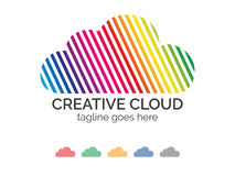 Cloud logo design. Vector illustration. Colorful cloud logo design. Included 4 color, gray scale, black and white versions Royalty Free Illustration