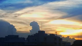 The cloud look like godzilla. In sunset royalty free stock photos
