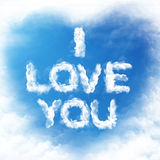 Cloud Love You. I love you written with cloud letters writing Royalty Free Stock Image