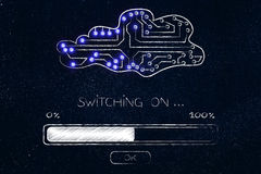 Cloud made of electronic circuits with progress bar loading and Stock Photography