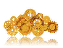 Cloud made of Golden Gears, Mobile Cloud Computing Stock Images