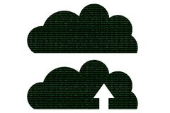 Cloud made with green binary code concept Stock Image