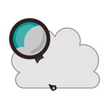 Cloud with magnifying glass icon. White cloud shape with magnifying glass icon. isolated design. vector illustration Royalty Free Stock Photos