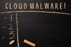Cloud Malware! written with color chalk. Supported by an additional services. Blackboard concept stock images