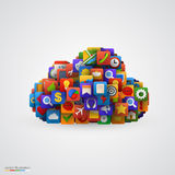 Cloud with many application icons. Royalty Free Stock Photo
