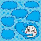 Cloud mascot make cloud seamless pattern Royalty Free Stock Image