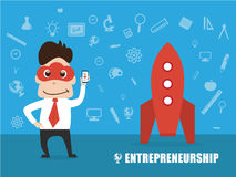 Cloud mask man character design in entrepreneur, startup concept Royalty Free Stock Photography