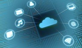 cloud meddelande resurser för begreppet för datoren beräknande lokaliserade bärbar dator framförd illustration 3d stock illustrationer