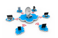 cloud meddelande resurser för begreppet för datoren beräknande lokaliserade bärbar dator Arkivfoto