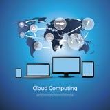 cloud meddelande resurser för begreppet för datoren beräknande lokaliserade bärbar dator Royaltyfri Fotografi