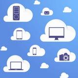 cloud meddelande resurser för begreppet för datoren beräknande lokaliserade bärbar dator Arkivbilder