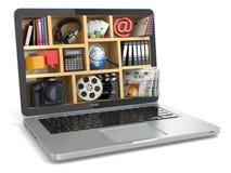 cloud meddelande resurser för begreppet för datoren beräknande lokaliserade bärbar dator Bärbar dators programvara och kapacitete Royaltyfri Fotografi