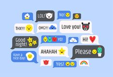 Cloud of messages with cute emoji. Speech bubbles with text and smileys. Ideograms or funny symbols to express different Royalty Free Stock Photos