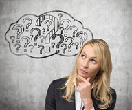 Cloud of mind with quiestions. Young businesswoman thinking and cloud of mind with quiestions Stock Photos