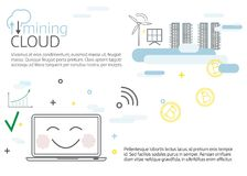 Cloud mining.  Vector thin line illustration design. Infogrphic template Stock Photography