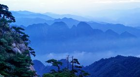 The cloud and mist of Sanqingshan mountain. Filming in Jiangxi, China.The Sanqingshan mountain is World Natural Heritage Stock Image