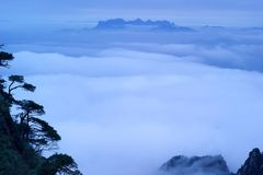 The cloud and mist of Sanqingshan mountain. Filming in Jiangxi, China.The Sanqingshan mountain is World Natural Heritage Royalty Free Stock Photography