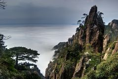 The cloud and mist of Sanqingshan mountain. The Sanqingshan has been listed as World Natural Heritage Stock Photo