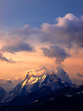 Cloud on mountain. During dawning Royalty Free Stock Photo