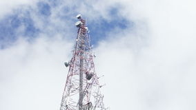 Cloud movement over the telecommunication pole stock video footage
