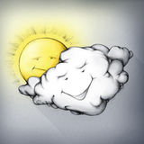 Cloud moving in front of sun. Illustration of a cloud moving in front of the sun Royalty Free Stock Photos