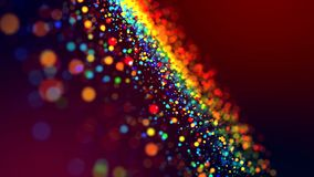 Cloud of multicolored particles in the air like sparkles on a dark background with depth of field. beautiful bokeh light. A cloud of multicolored particles in stock photography