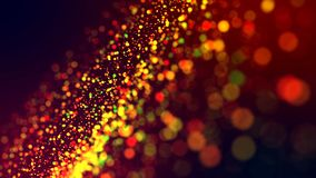 Cloud of multicolored particles in the air like sparkles on a dark background with depth of field. beautiful bokeh light. A cloud of multicolored particles in royalty free stock photography