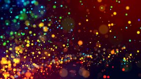 Cloud of multicolored particles in the air like sparkles on a dark background with depth of field. beautiful bokeh light. A cloud of multicolored particles in stock photo