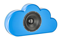 Cloud music concept with loudspeaker, 3D rendering Stock Image