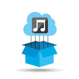cloud music download connected design Stock Image