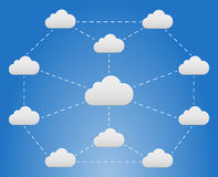 Cloud network. On blue sky with dashed line Stock Image