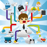 Cloud network,with business man. Cloud network,with business man,vector,illustration Stock Photo