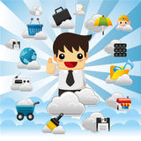 Cloud network,with business man Royalty Free Stock Image