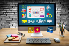 Cloud Network Communication  Globalization Cloud Computing diagr Royalty Free Stock Images