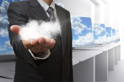 Cloud network concept. Business man hand shows cloud network concept Stock Photo