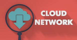 Cloud Network Concept in Flat Design. Royalty Free Stock Photo