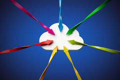 Cloud. Network cloud and connection arrows on blue background, clipping path included Royalty Free Stock Photo
