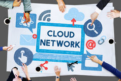 Cloud Network Dara Information Storage Sharing Technology Concept. People Using Cloud Network Data Information Storage Sharing Technology stock photo