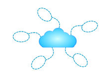 Cloud network with five speech bubble dash line isolated on white Royalty Free Stock Photos