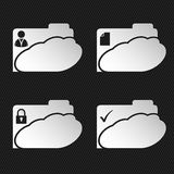 Cloud network folder icons on black Royalty Free Stock Photo