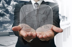 Cloud network on glass board. Businessman show cloud network on glass board Stock Photos