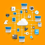 Cloud network icon flat Stock Photo