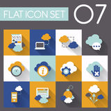 Cloud network icon set in flat design Royalty Free Stock Image