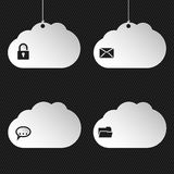 Cloud network icons on black background Stock Image