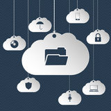 Cloud network icons hanging Stock Photos