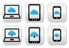 Cloud network on laptop, tablet, smartphone icons. Modern devices connected to cloud vector icons set isolated on white
